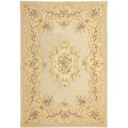 Handmade Light Green/ Beige Hand-spun Wool Rug (9' x 12')