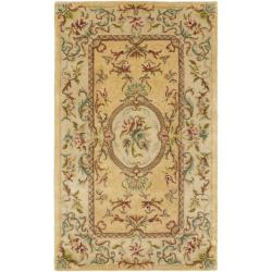 Handmade Light Gold/ Beige Hand-spun Wool Rug (4' x 6')