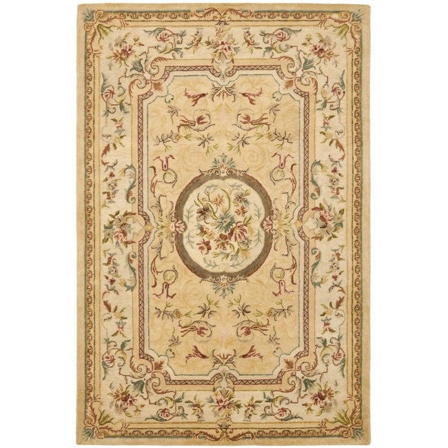 Safavieh Handmade Light Gold/ Beige Hand-spun Wool Rug (8' x 10')