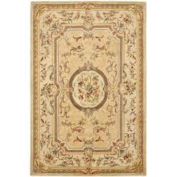 Handmade Light Gold/ Beige Hand-spun Wool Rug (8' x 10')