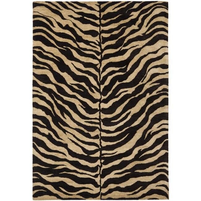 Safavieh Handmade Zebra Beige Hand-spun Wool Rug (8' x 10')