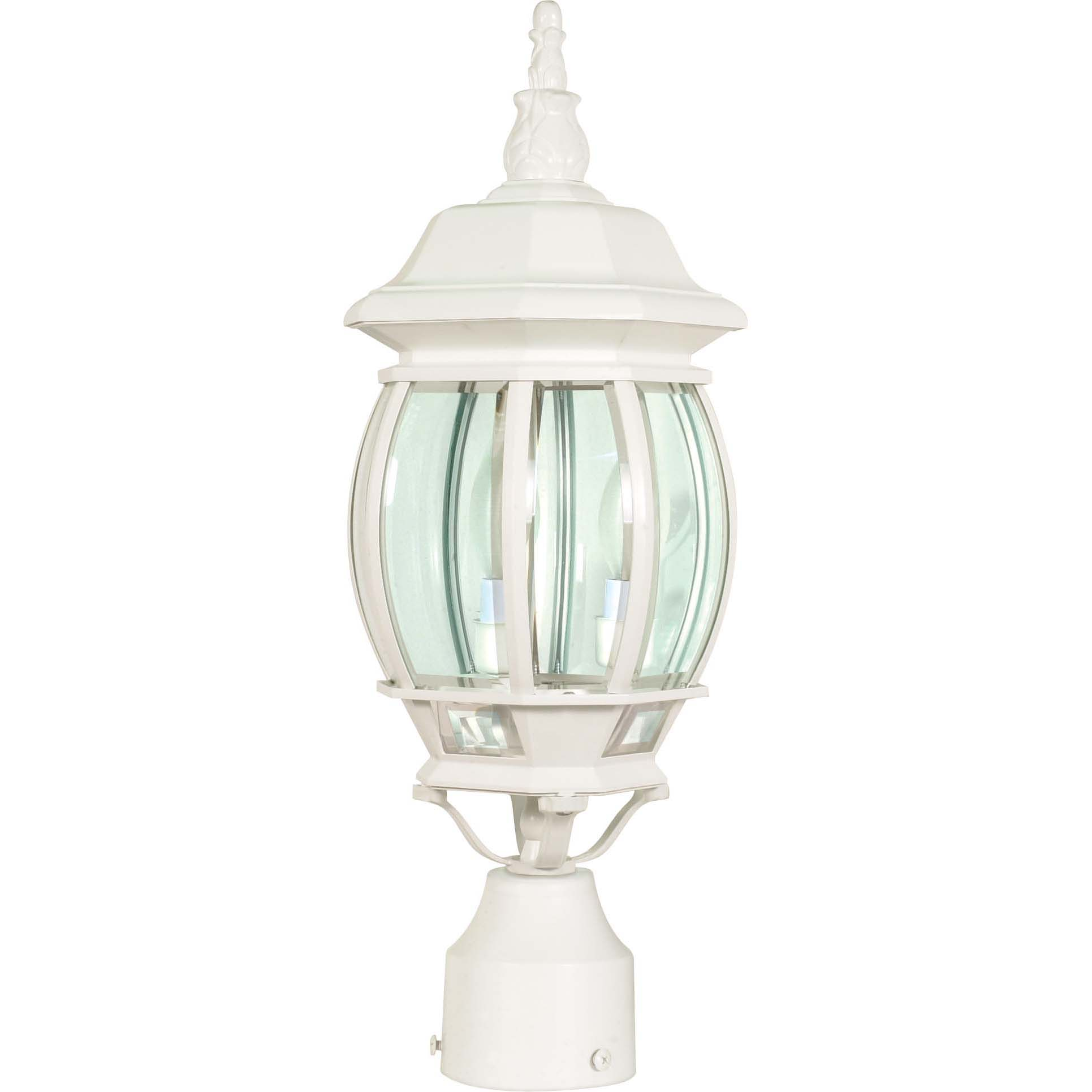 Central Park 3 Light White With Clear Beveled Panels Post Lantern