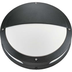 Hudson 2 Light Round Hooded Matte Black With White Lexan Wall/Ceiling Fixture