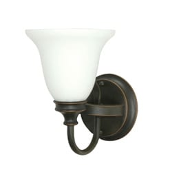 Bistro 1 Light Rustic Bronze With Satin White Wall Vanity