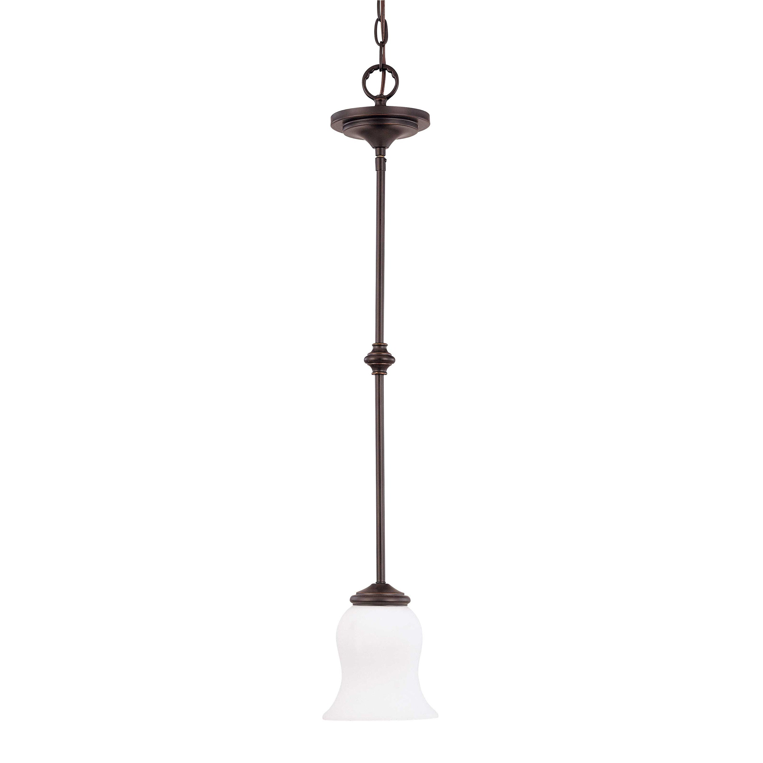 Glenwood 1 Light Sudbury Bronze With Satin White Glass Mini Pendant