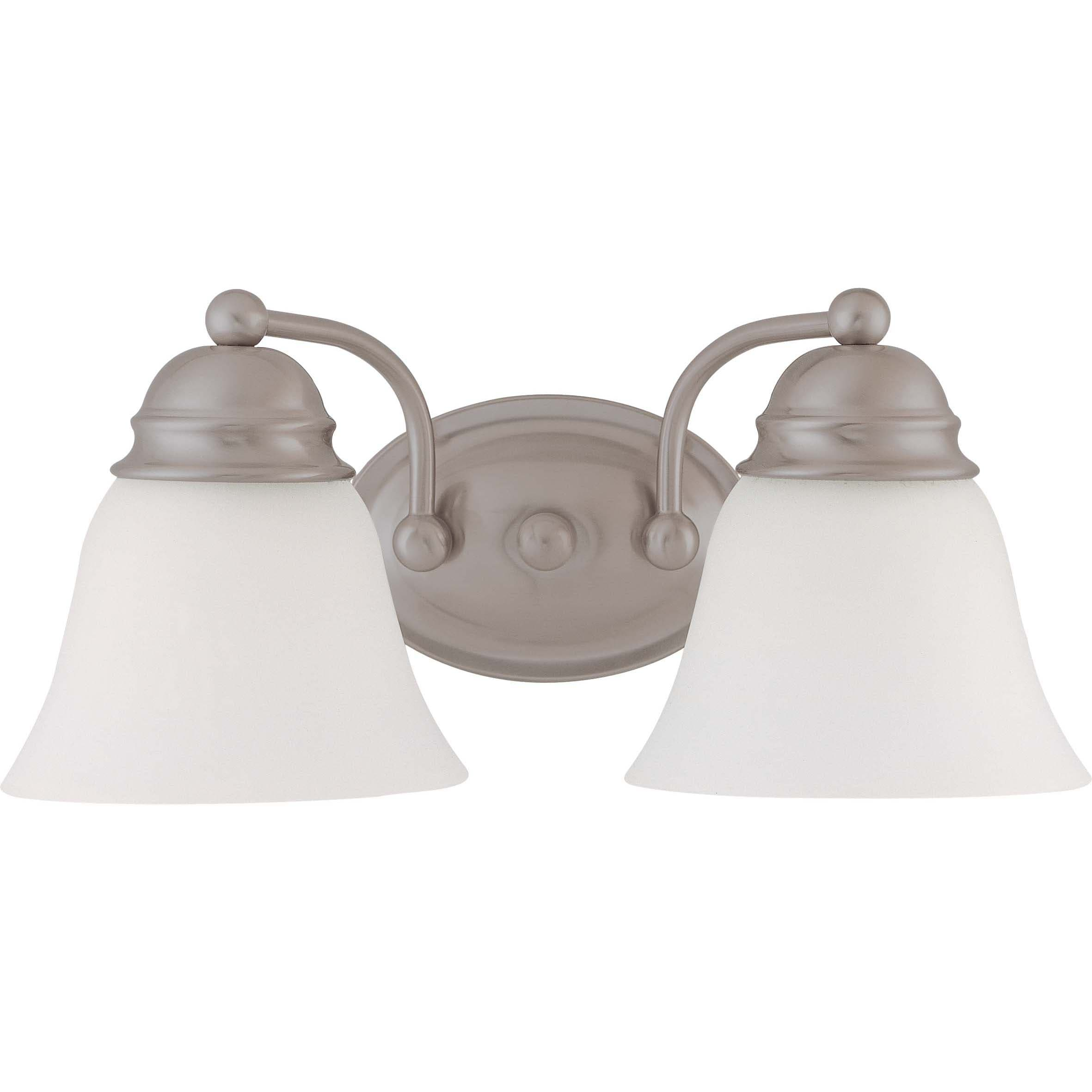 Empire 2 Light Brushed Nickel With Frosted White Vanity