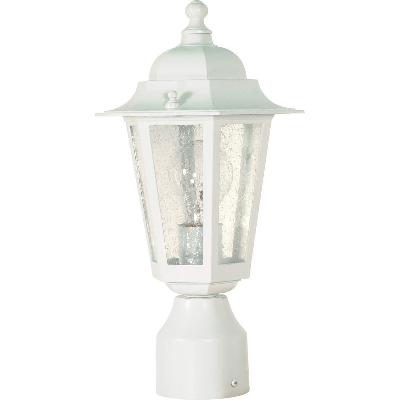 Cornerstone 1 Light White With Clear Seed Post Lantern