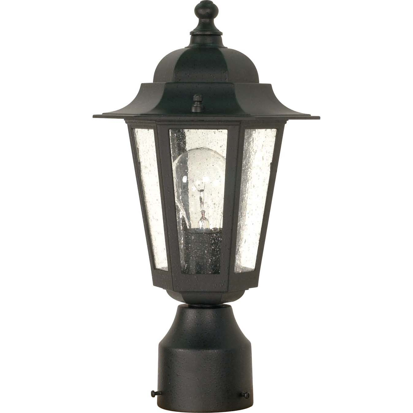Cornerstone 1 Light Textured Black With Clear Seed Post Lantern