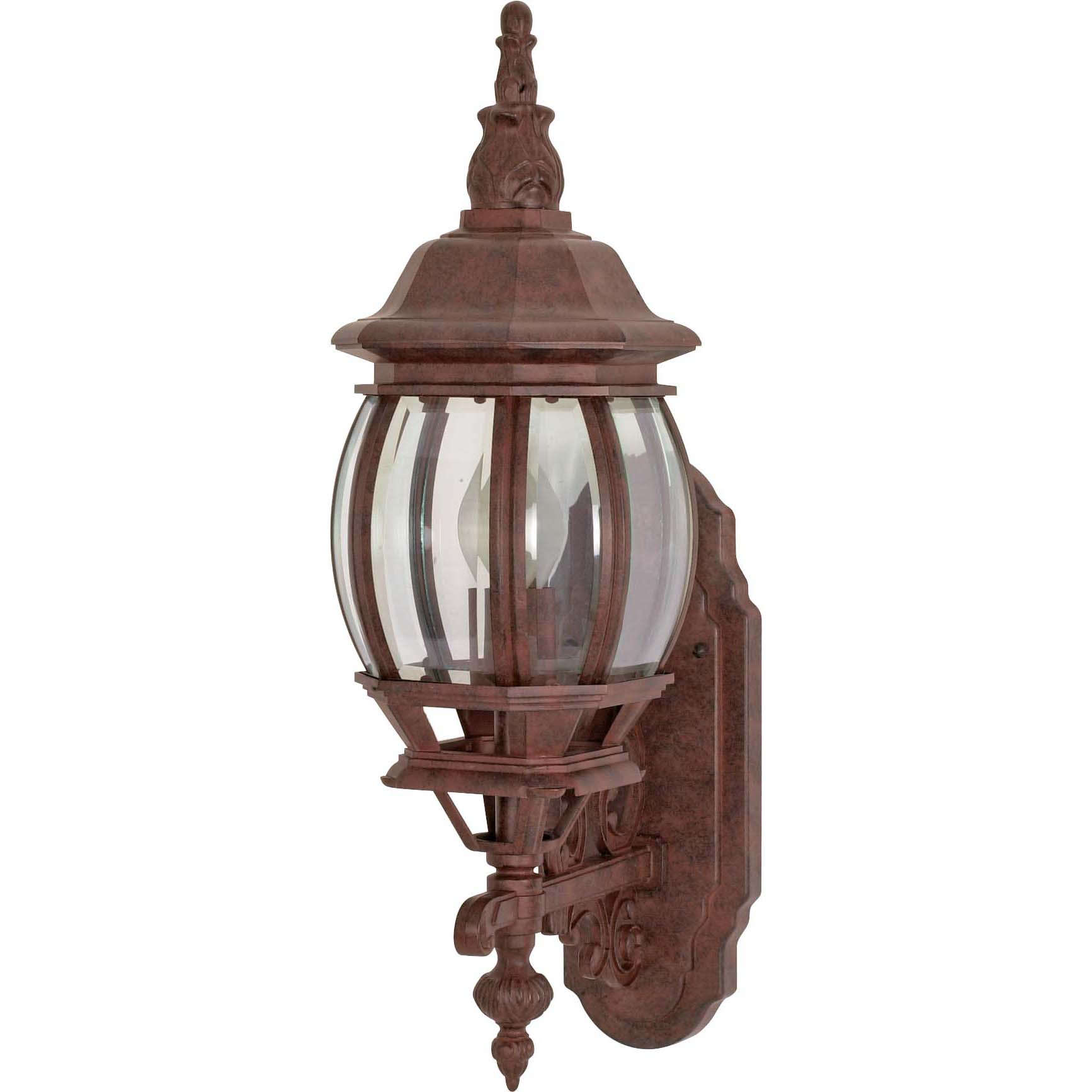 Central Park 1 Light Old Bronze With Clear Beveled Panels Wall Lantern