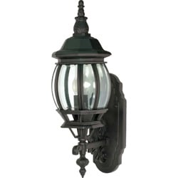 Central Park 1 Light Textured Black w/ Clear Beveled Panels Wall Lantern