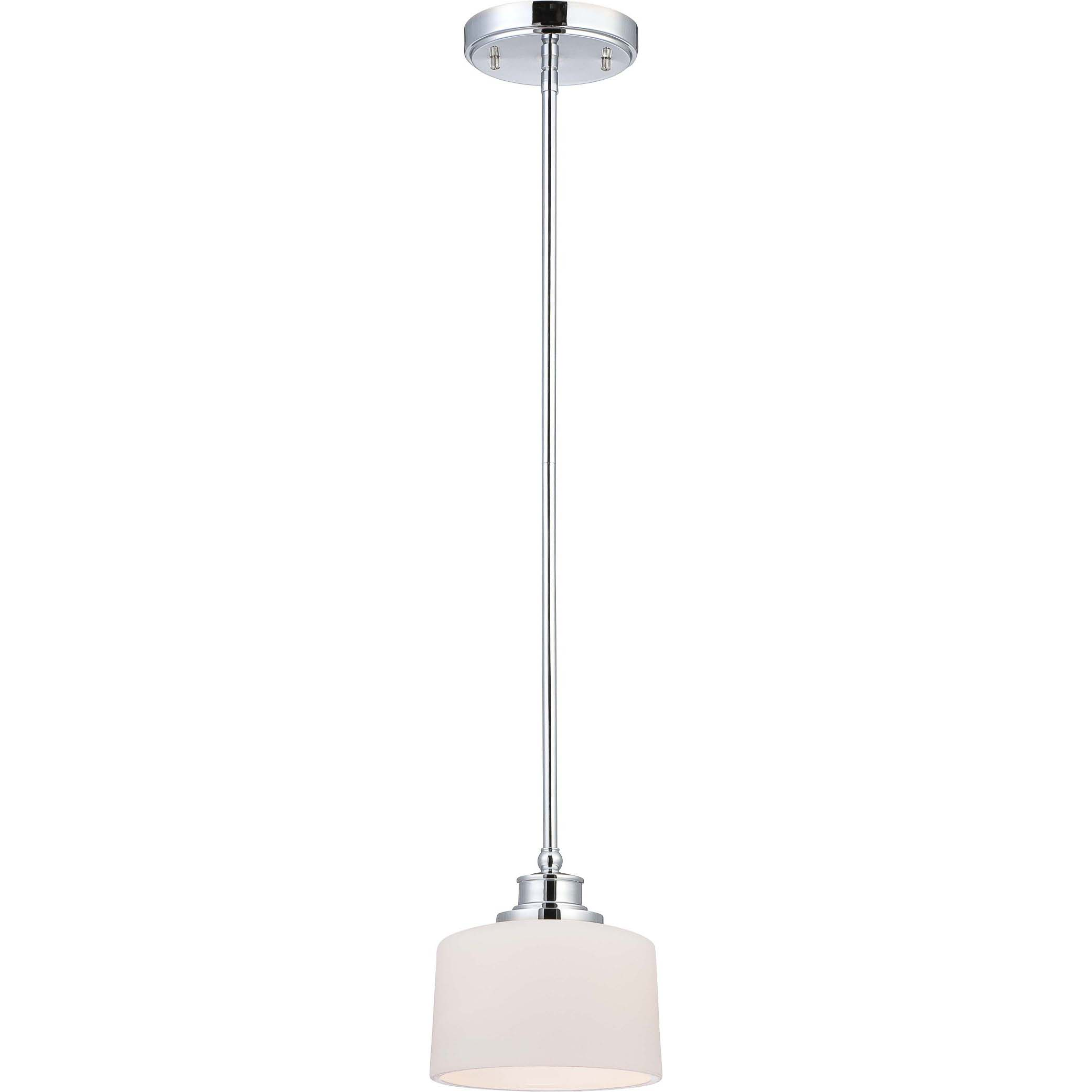 Soho 1 Light Polished Chrome With Satin White Glass Mini Pendant