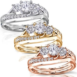 Annello 14k Gold 1ct TDW Diamond Engagement Bridal Rings Set (H-I, I1-I2)