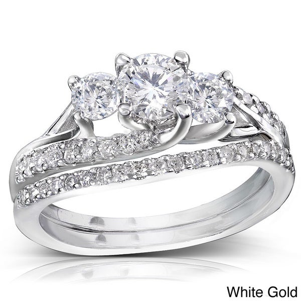 Annello 14k Gold 1 1/10ct TDW Diamond Bridal Rings Set (H-I, I1-I2)