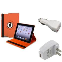 Orange Swivel Leather Case/ Travel/ Car Charger for Apple iPad 3