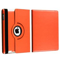 Orange Swivel Leather Case/ Screen Protector/ Stylus for Apple iPad 3