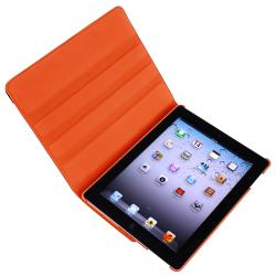 Orange Swivel Leather Case/ Screen Protector for Apple iPad 3