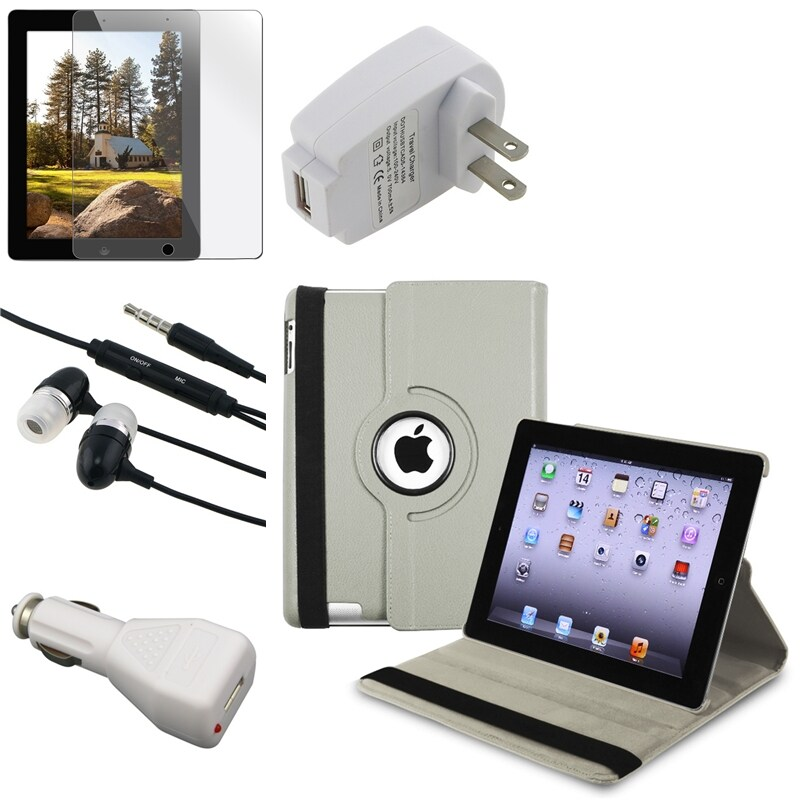 Leather Case/Screen Protector/Headset/Chargers Bundle for Apple iPad 3