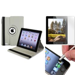 Gray 3-Piece Swivel Leather Case/ Screen Protector/ Stylus for Apple iPad 3