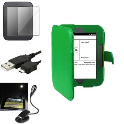 INSTEN Green Phone Case Cover/ Cable/ Book Light for Barnes and Noble Nook 2nd Edition