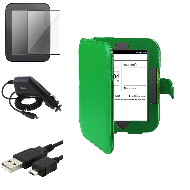 INSTEN Tablet Case Cover/ Protector/ Cable/ Charger Bundle for Barnes and Noble Nook 2nd Edition