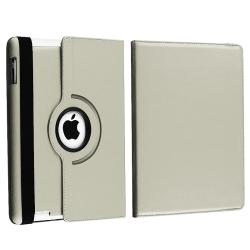 Grey Leather Swivel Case/ Car and Travel Chargers for Apple iPad 3