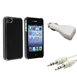 Black with Silver Case/ Car Charger/ USB Cable for Apple iPhone 4/ 4S