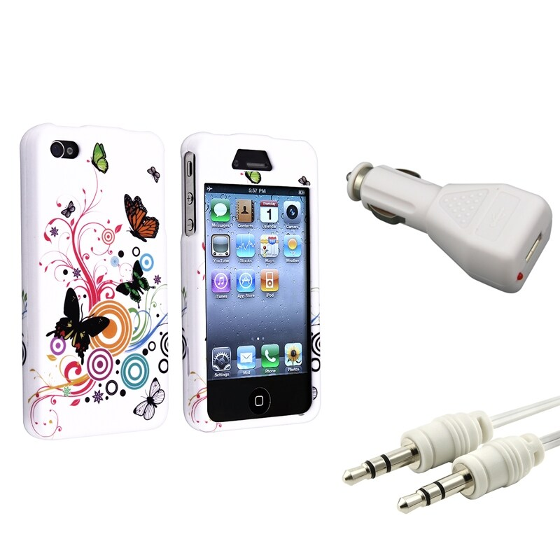INSTEN White Autumn Flower Case Cover/ Cable/ Car Charger for Apple iPhone 4/ 4S