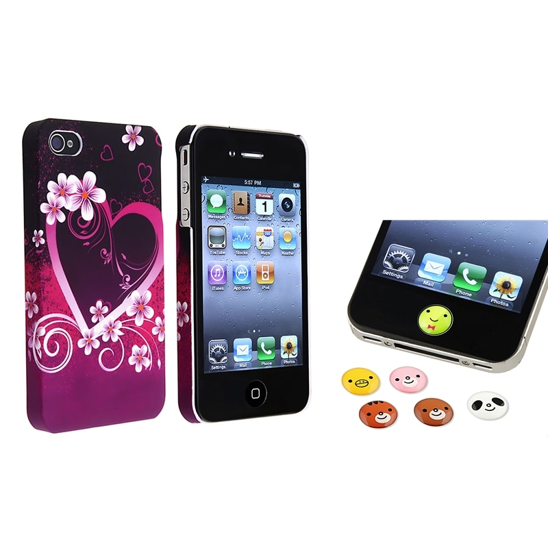 INSTEN Heart with Flower Phone Case Cover/ Home Button Stickers for Apple iPhone 4/ 4S