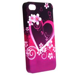 INSTEN Dark Purple Heart with Flower Phone Case Cover/ Stylus for Apple iPhone 4/ 4S