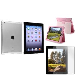 BasAcc Crystal Case/ Light Pink Leather Case/ LCD Protector for Apple iPad 3/ 4