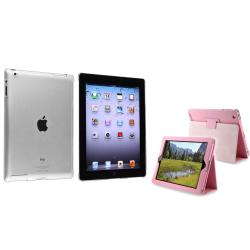 BasAcc Clear Crystal Case/ Light Pink Leather Case for Apple iPad 3/ 4