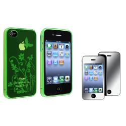 Green Flower TPU Case/Mirror LCD Protector Two-Piece Set for Apple iPhone 4/4S