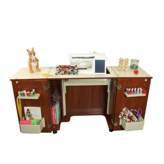 Kangaroo Kabinets Bandicoot Teak Crafts & Sewing Machine Table with Storage and Organization Cabinet