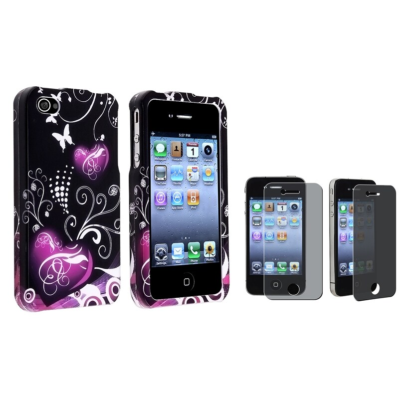 INSTEN Black/ Purple Heart Phone Case Cover/ Privacy LCD Protector for Apple iPhone 4/ 4S