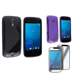 Black/ Purple Case/ Screen Protector for Samsung Galaxy Nexus 4G i9250