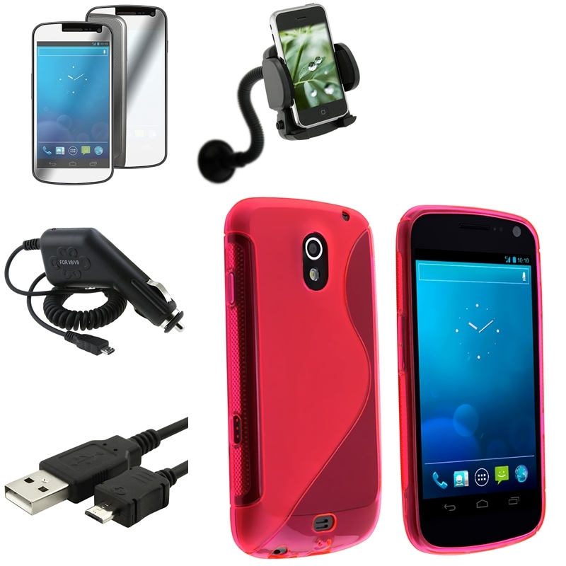 Red Case/LCD Protector/Chargers/Mount for Samsung Galaxy Nexus 4G i9250