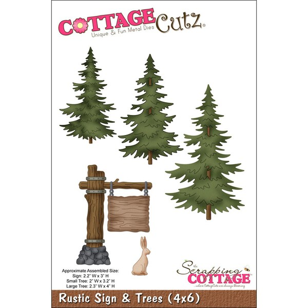 "CottageCutz Die 4""X6""-Rustic Sign & Trees"