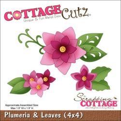 "CottageCutz Die 4""X4""-Plumeria & Leaves"
