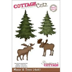 "CottageCutz Die 4""X6""-Moose & Trees Made Easy"