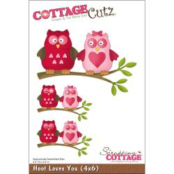 "CottageCutz Die 4""X6""-Hoot Loves You"