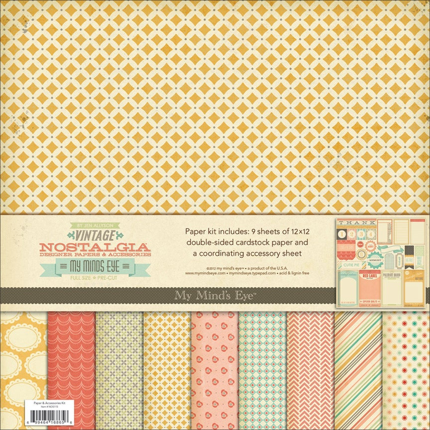"Nostalgia Paper & Accessories Kit 12""X12""-9 Double-Sided Papers & 1 Accessories"