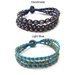Majestic Brass Beads Blue Cotton Rope Three Strand Bracelet (Thailand)