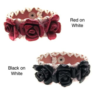 Sweet Roses Genuine Leather Blooming Floral Bracelet (Thailand)