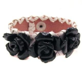 Sweet Roses Genuine Leather Blooming Floral Bracelet (Thailand)