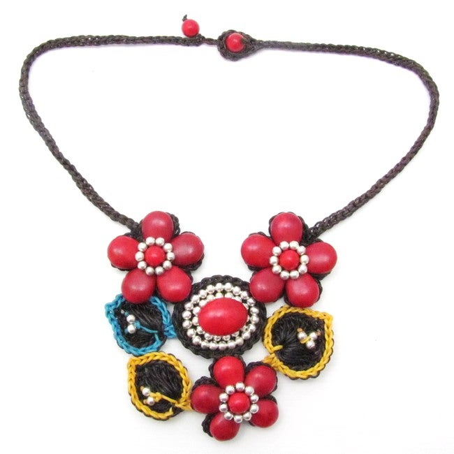 Floral Bouquet Coral Silver Beads Embellished Necklace (Thailand)