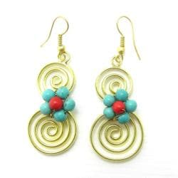 Spiral Romance Turquoise/ Red Coral Stone Brass Earrings (Thailand)