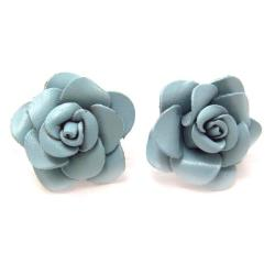 Blue Rose Passion Genuine Leather Post Earrings (Thailand)