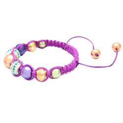 Karma Collection Purple Mardi Gras Crystal Edition Macrame Bracelet