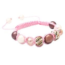 Karma Collection: Pink Chocolate Crystal Edition Macrame Bracelet