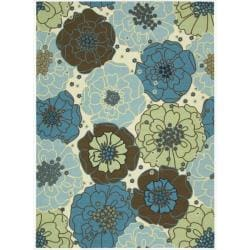 Nourison Home and Garden Blue Floral Indoor/Outdoor Rug (5'3 x 7'5)